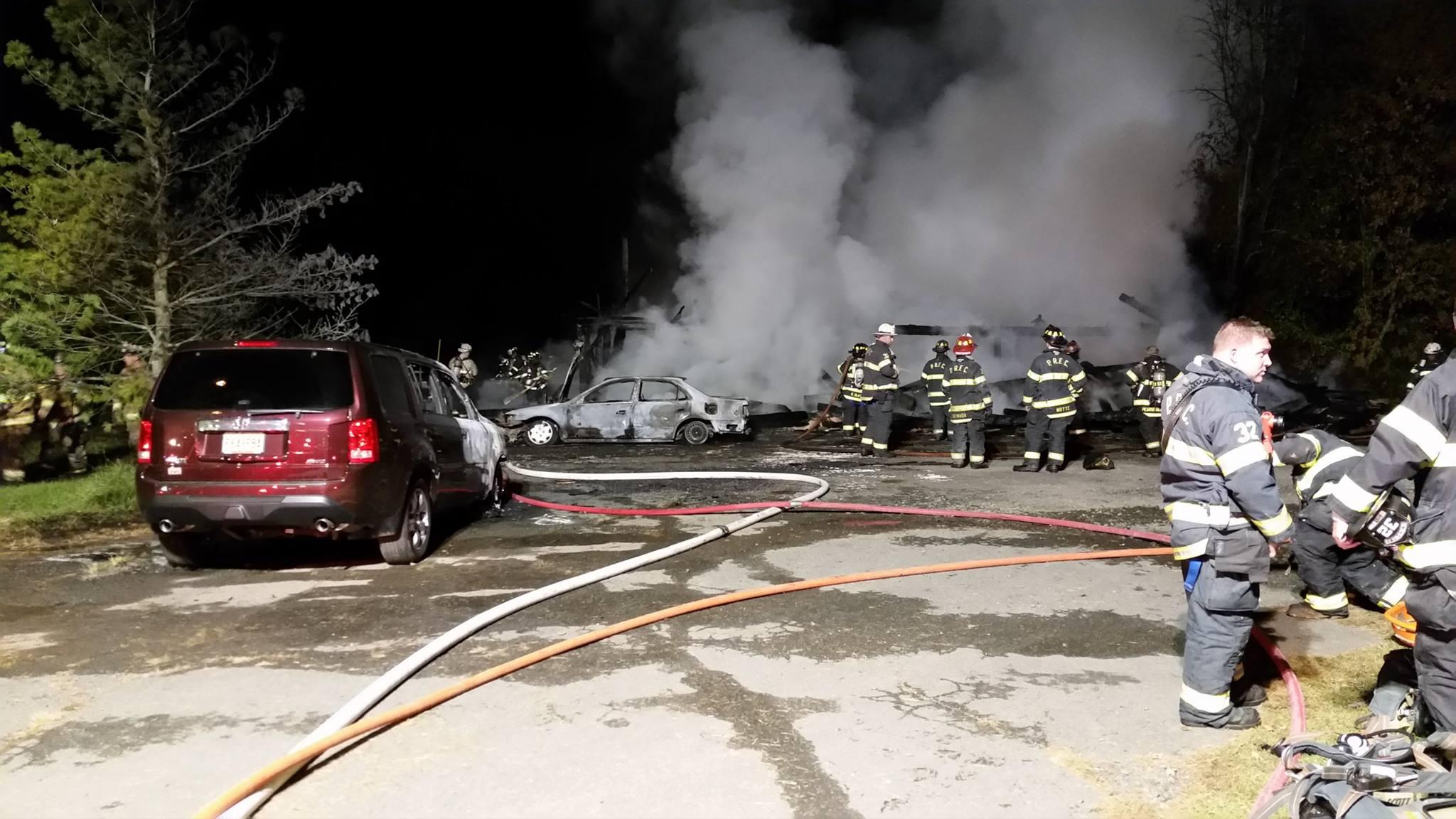 Three Story Barn Fire on Pennington Titusville Road