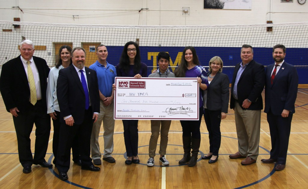 Pictured with the presentation check from the Recreation Foundation of Hopewell Valley are Eric Kollevoll; Diana Kollevoll; YMCA CEO Doug Pszczolkowski; HVRSD Superintendent Tom Smith; HVCS Seniors Alexis Peart, Aaron Palmieri, and Kristen Kollevoll; Hopewell Valley Recreation Foundation Co-Chair Kim Bruno; Board of Education member Mike Marculec; and President of the YMCA Board of Directors Ryan Kennedy