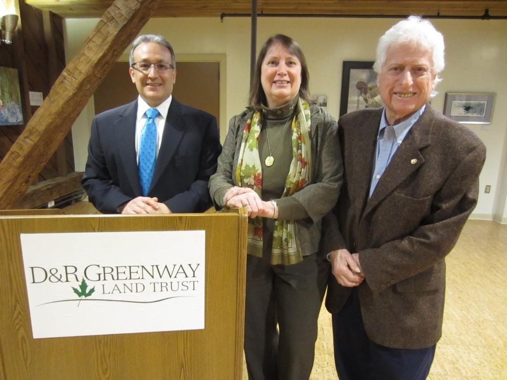 l to r Christopher DeGrezia, Esq., Linda J. Mead, CEO President, Eugene Gladston re D&R Greenway Board