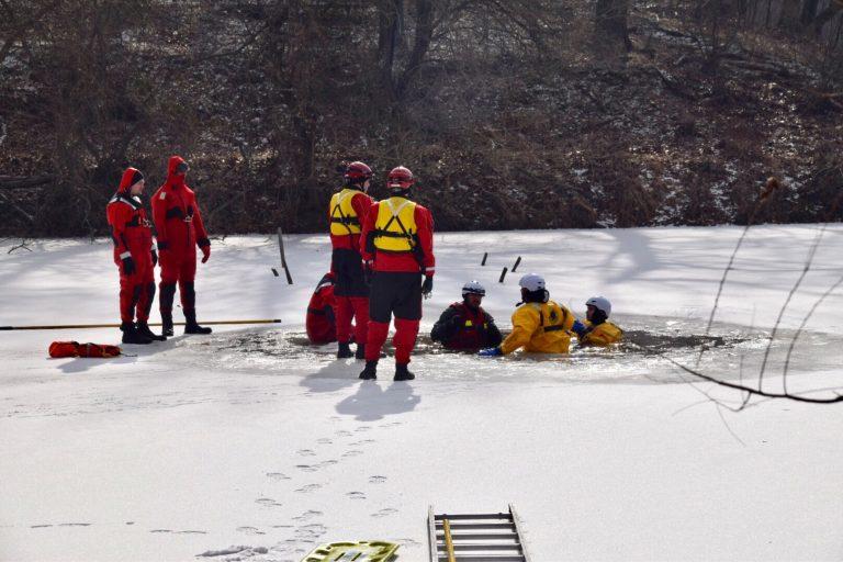 Local Emergency Responders Practice Ice Rescue